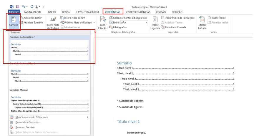 Sumrio no word 2013 2010 por padro criado 3 nveis e para mudar essa configurao clique no sumrio que acabou de criar depois em sumrio personalizar sumrio ccuart Images