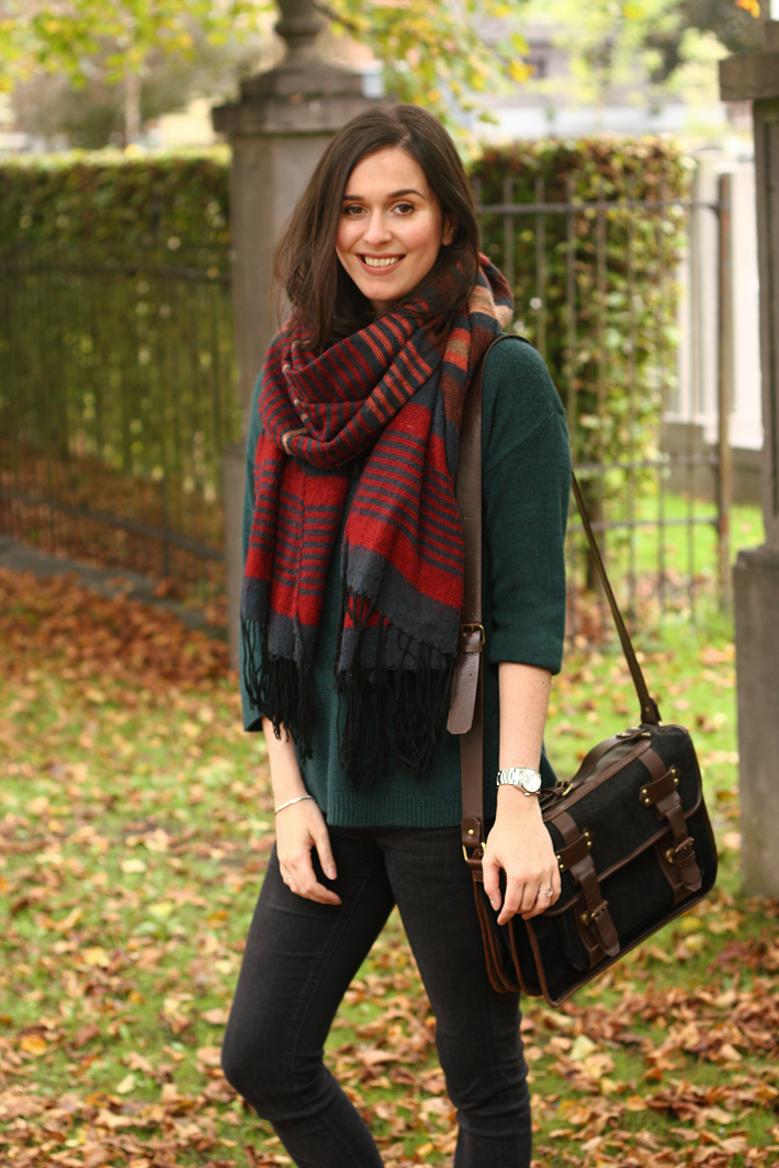 fall outfit oversized scarf satchel skinny jeans