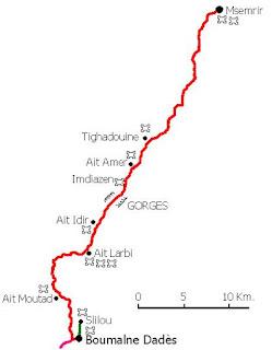 Mapa de las Gargantas de Dadés.
