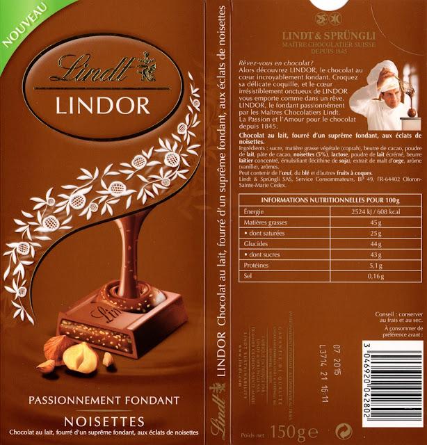 tablette de chocolat lait fourré lindt lindor noisettes