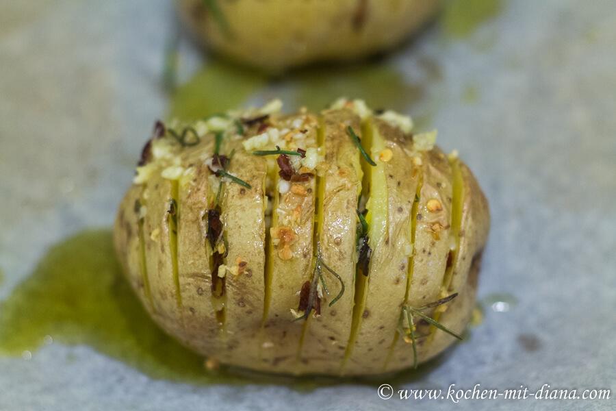 Fächerkartoffeln nach dem Backen