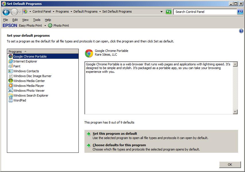 Make Google Chrome Portable the system default browser