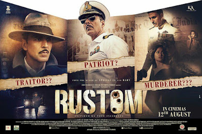 Senarai Filem Bollywood Bulan April 2018, List Filem Bollywood - April 2018, Bollywood Movie, Hindi Movie, Filem Hindustan, Review By Miss Banu, Blog Miss Banu Story, Poster Filem Rustom, Rustom, 2016, Movie Rustom, Based On True Strory, Berdasarkan Kisah Benar, Pelakon Lelaki Terbaik, Hindi Movie Rustom, Rustom Cast, Pelakon Filem Rustom, Akshay Kumar, Ileana D'Cruz, Arjan Bajwa, Esha Gupta, Pawan Malhotra, Sinopsis Rustom,