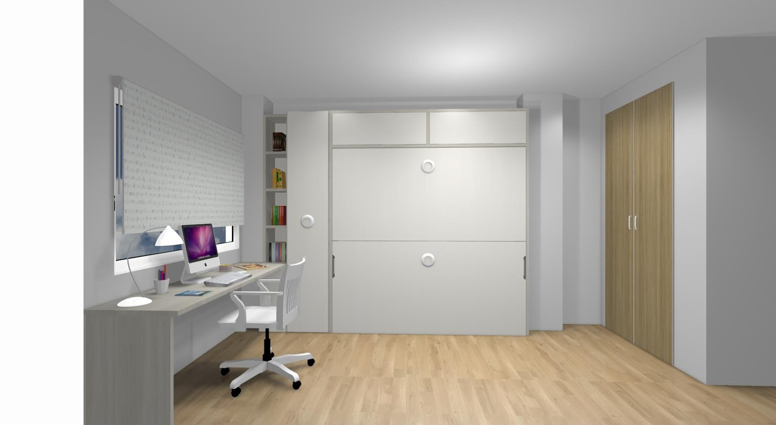 Dormitorio juvenil con cama compacto estanterias y zona de - Dormitorios infantiles madrid ...