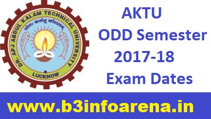 AKTU ODD Semester 2017-18 Exam Dates