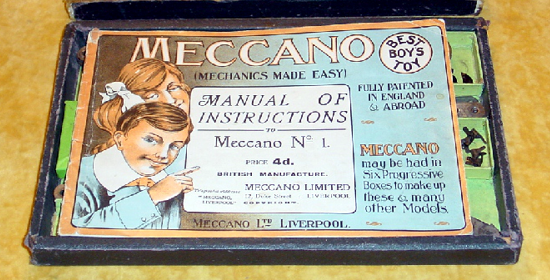 Meccano 1908 box - opened