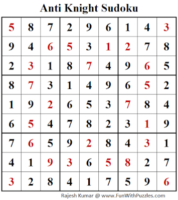 Answer of Anti Knight Sudoku Puzzle (Fun With Sudoku #365)