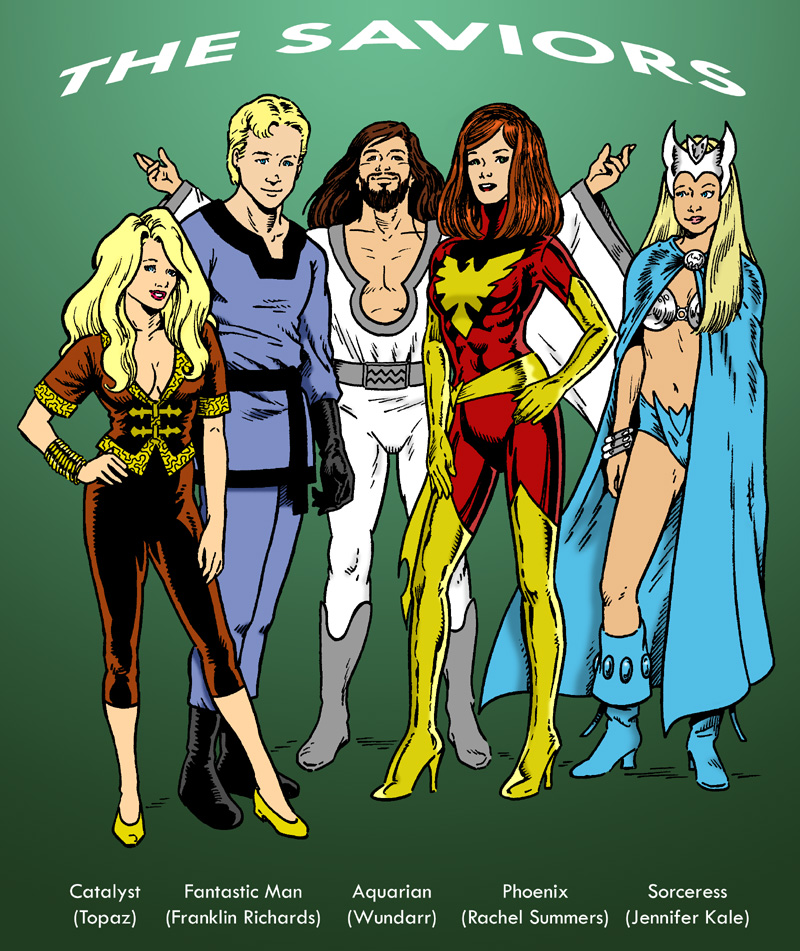 Topaz, Franklin Richards, Wundarr, Rachel Summers, and Jennifer Kale as the Saviors.