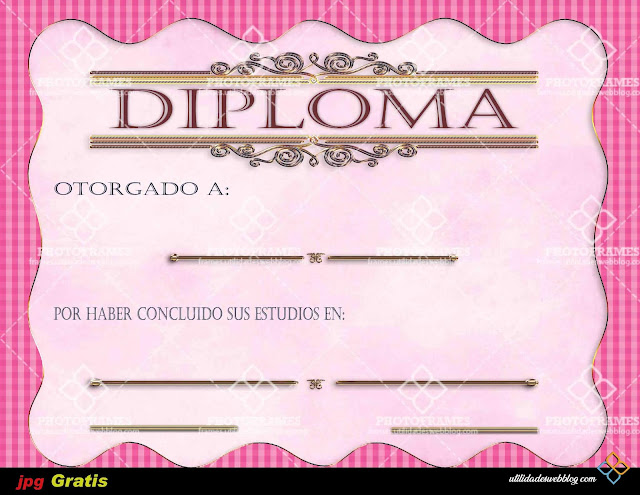 Diploma color rosa por conclusión de Preparatoria o Kindergarten