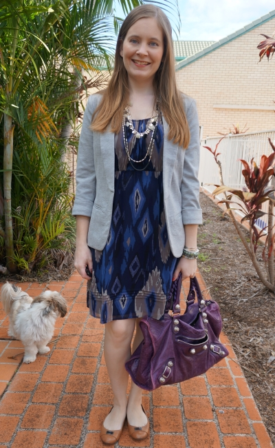 grey jersey blazer, jeanswest navy aztec print dress silver statement necklace with purple Balenciaga bag | away from blue