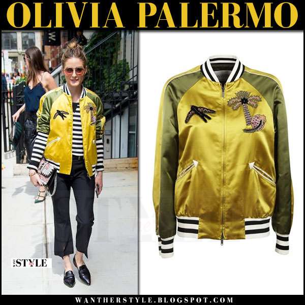 Olivia Palermo in yellow and green satin bomber jacket valentino tropical dream what she wore may 23 2017