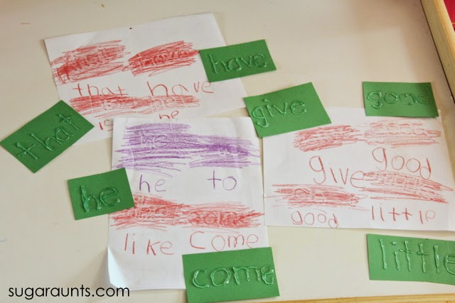 Sight word activity for kids with crayon rubbing activity.
