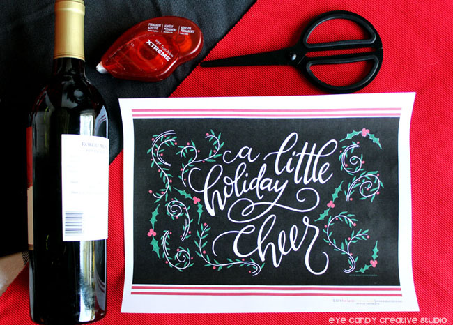 free holiday art, hand lettered art print, a little holiday cheer, new years
