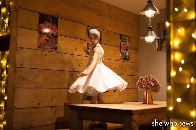 Fairy lights around the table