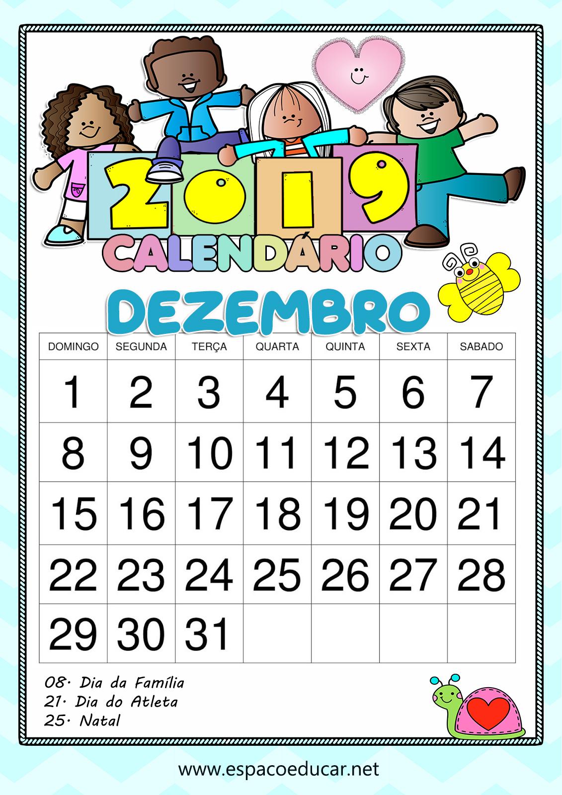 CALENDÁRIO DEZEMBRO DE 2019 PARA IMPRIMIR - COLORIDO COM ...