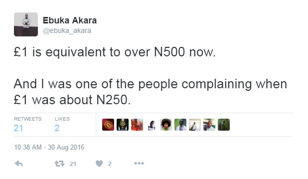 See what this Nigerian said about the naira on Twitter today