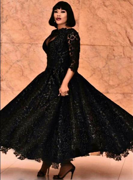 Checkout Toyin Lawani's N1.5m Self-Designed Dress