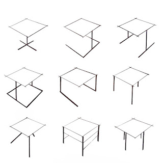 Wire frame sketches of little tables
