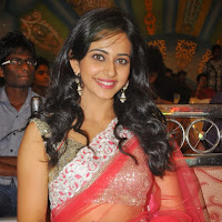 Beautiful Rakul preet singh photos in red ethnic saree