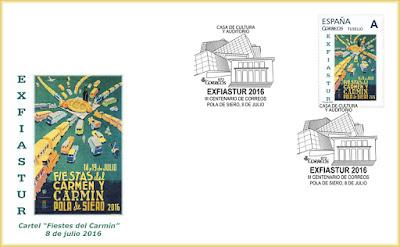 Sobre con el Cartel de las Fiestas del Carmín de La Pola