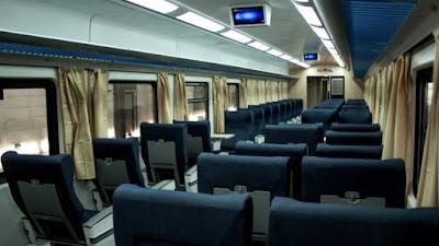 Interior del tren que une Rosario con la ciudad de Buenos Aires