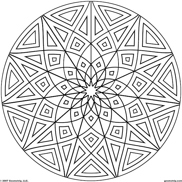 Kaleidoscope Coloring Pages  Geometrip  Free Geometric Coloring  Designs  Circles