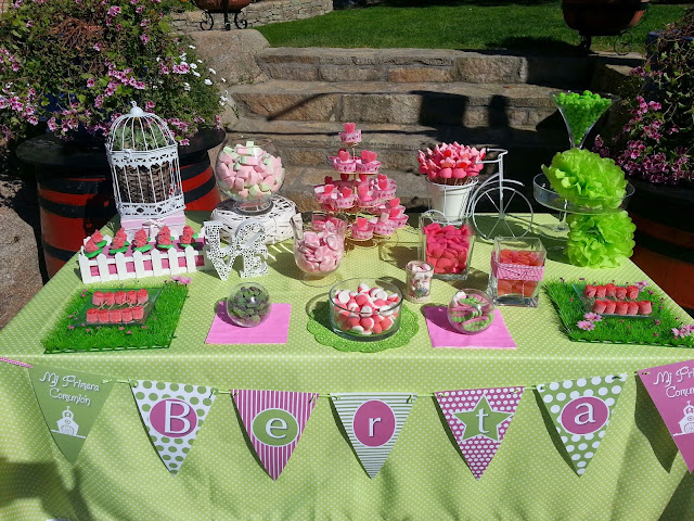 candy bar comunion rosa y verde