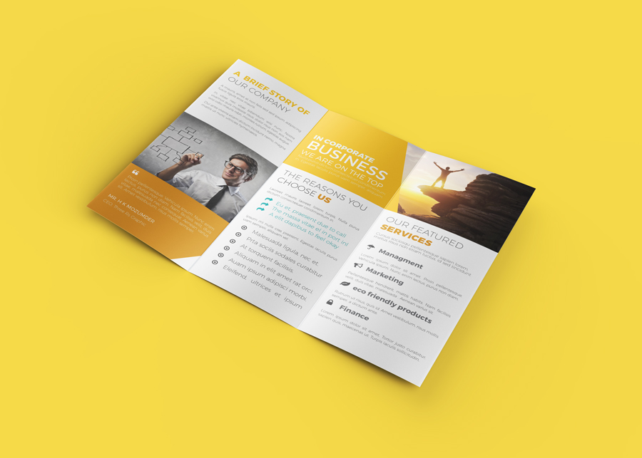 InDesign Template Of Trifold Brochure RONOUR DESIGN STUDIO - Tri fold brochure indesign template
