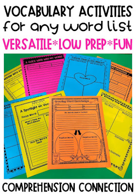 Vocabulary instruction will never get stale or boring if you have a variety of activities to choose from. This blog post includes 20+ ideas for teaching and practicing vocabulary. A strong vocabulary leads to improved comprehension. Using graphic organizers and interactive notebooks help grow word knowledge. Check out this post for more vocab building ideas.