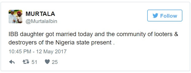 """Described As """"Community of Looters""""; 26 Private Jets, Political Bigwigs Flood IBB Daughter's Wedding At Minna"""