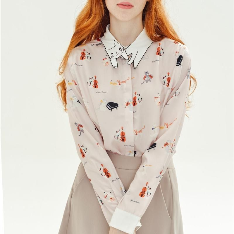 Women's Cat Pattern Collar Button Down Long Sleeve Blouse Shirt