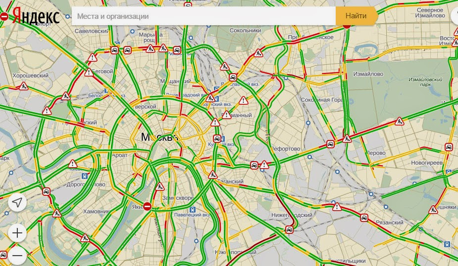 yandex probki app traffic jams in moscow
