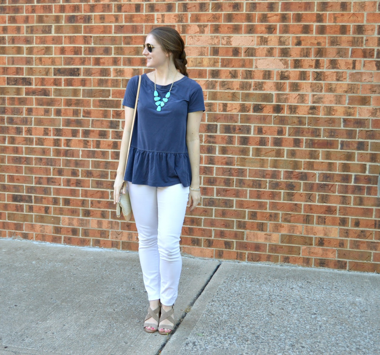 blue ruffle peplum top | how to style a peplum top | white denim outfit ideas | what to wear with white jeans | what to wear with white jeans this summer | summer outfit ideas | cute outfits to wear this summer | summer style | a memory of us | your life styled |