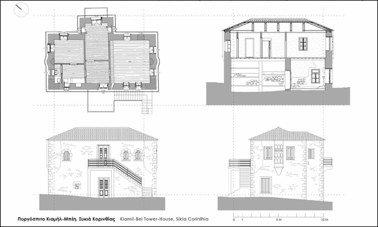 Σχεδιαγράμματα της κάτοψης και των όψεων του πυργόσπιτου του Κιαμήλ Μπέη. (Αποτύπωση – σχεδίαση: Μαγδαληνή Δημητροπούλου, αρχιτέκτων – μηχανικός)