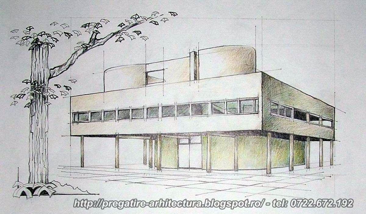 pregatire arhitectura desene cu vila savoye villa savoye drawings le corbusier. Black Bedroom Furniture Sets. Home Design Ideas