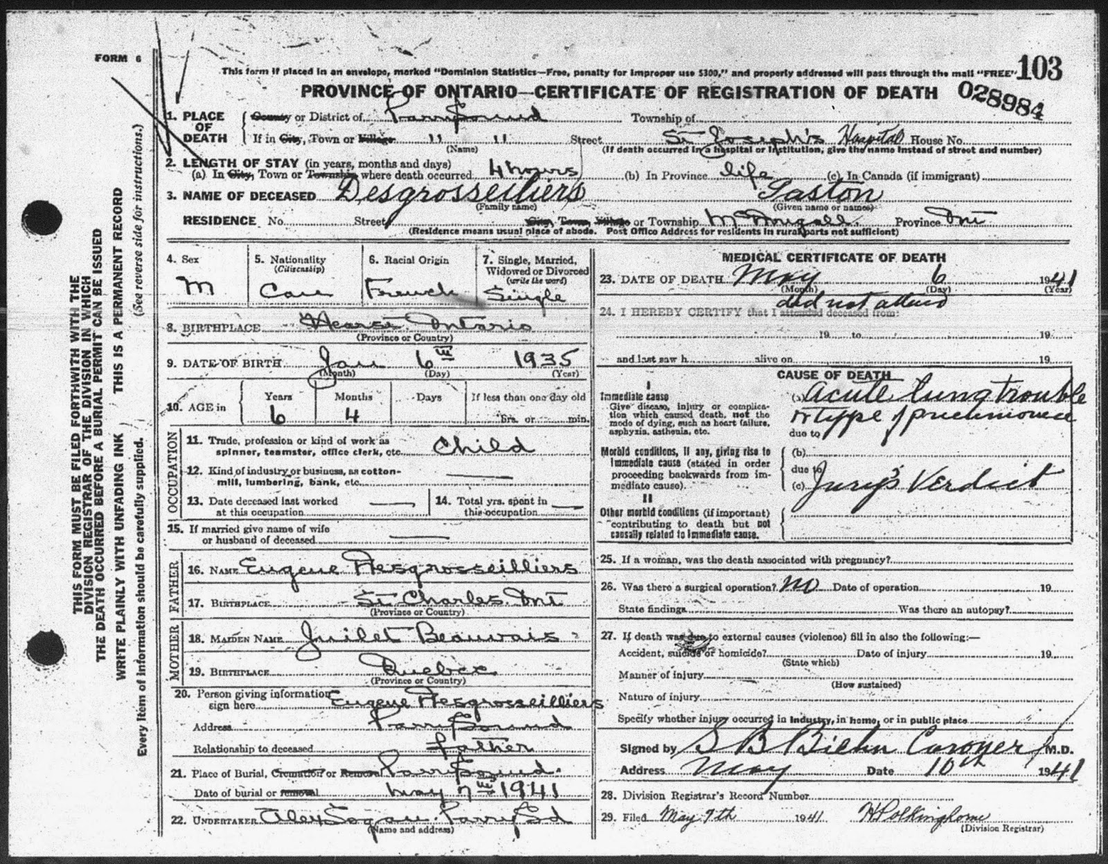 Death registration of Gaston Desgroseilliers