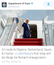 US Sec. of States John Kerry is on his way to Nigeria for the Presidential Inauguration