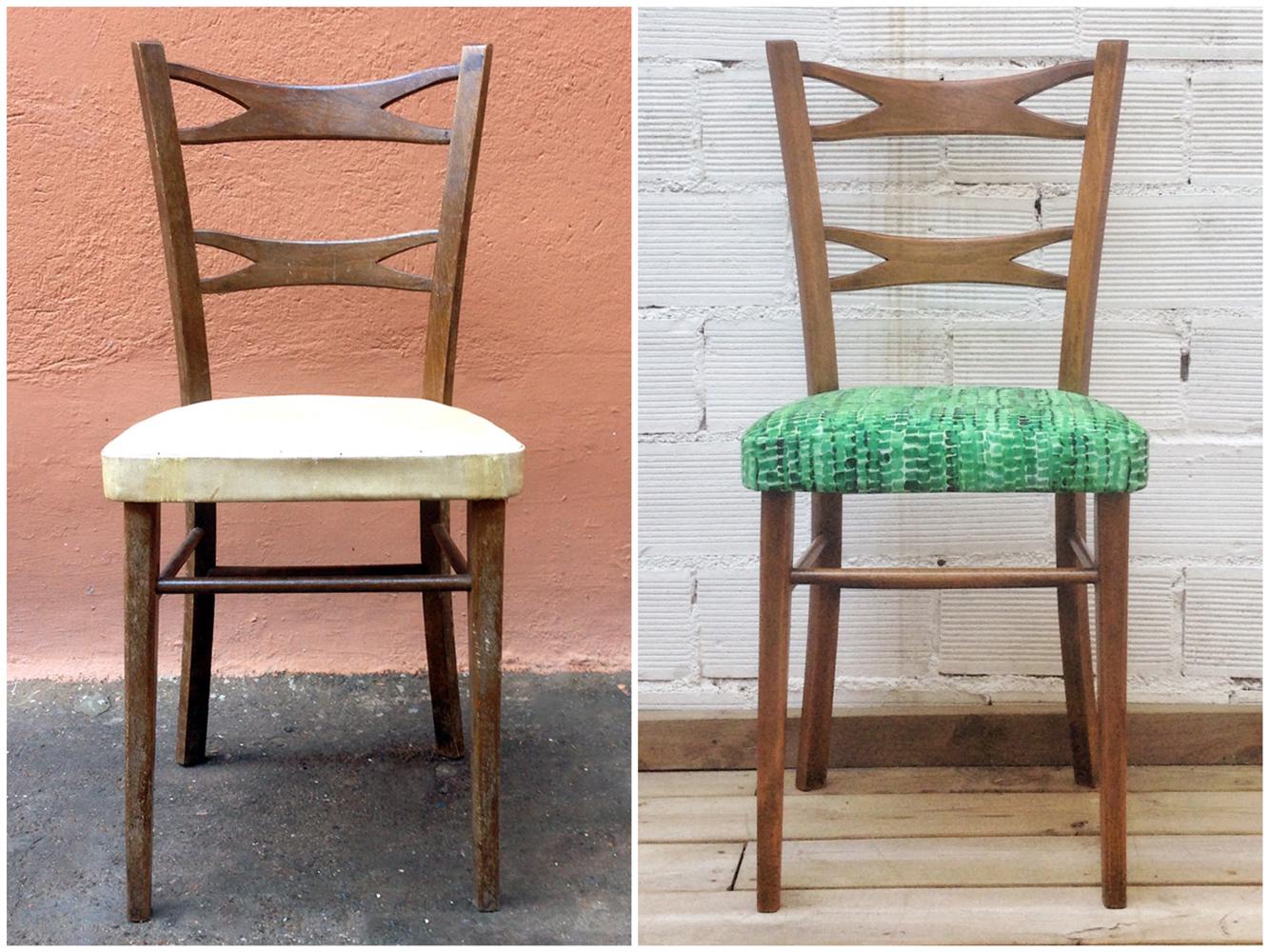 Antes y después - Silla restaurada y tapizada - Studio Alis