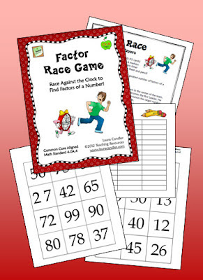 Free Factor Race math game! Students race against the clock to find all the factors of a number, and they score points for the number of correct factors they find! But watch out! If they list a single incorrect factor, they score 0 points for that round!