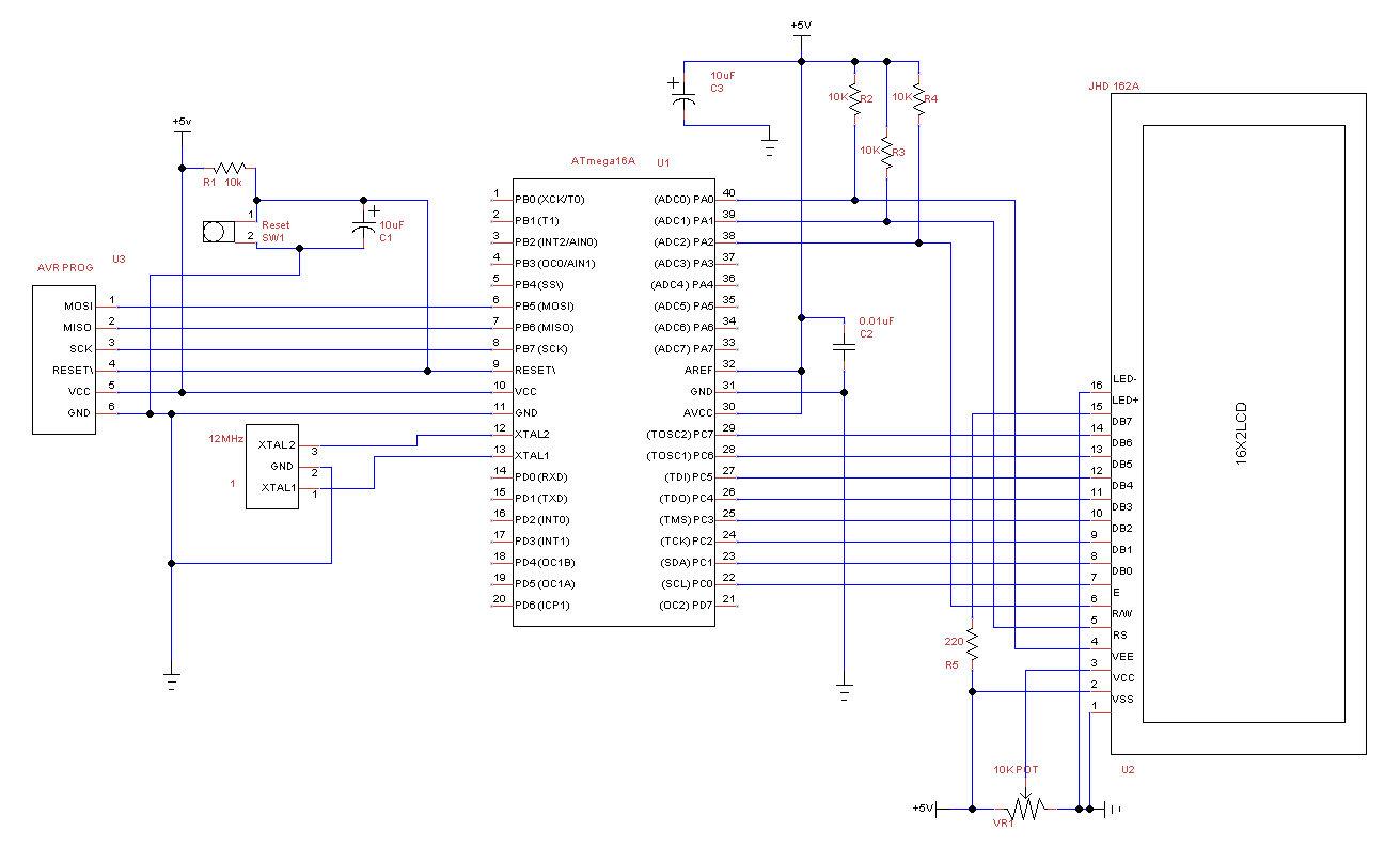 16x2 LCD Programming to display running text using Atmega16A