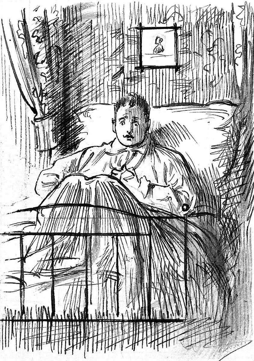 a George Du Maurier drawing of a hypochondriac in bed, 1898