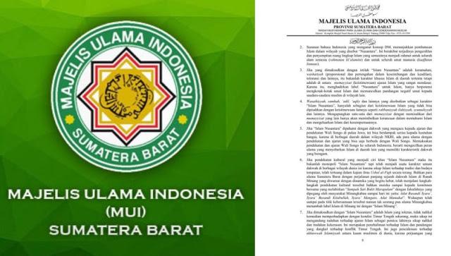 """Resmi, MUI Sumatera Barat Tolak """"Islam Nusantara"""""""