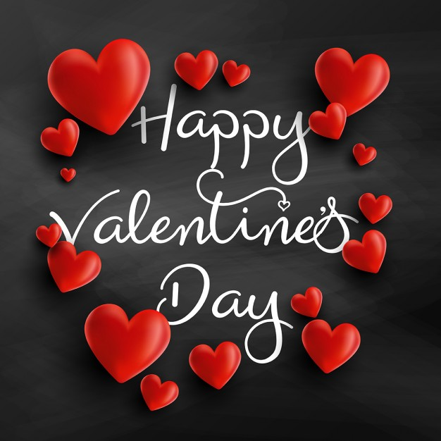 Background for valentine with 3d hearts Free Vector