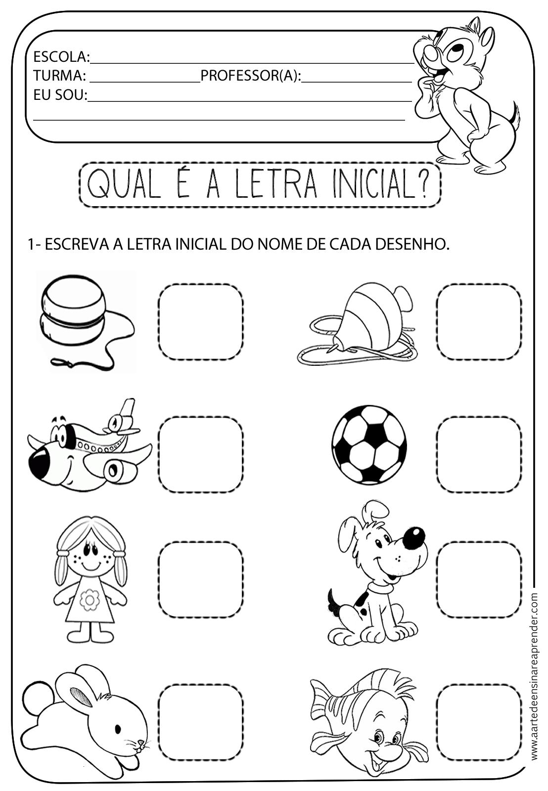 Atividade pronta - Letra inicial - A Arte de Ensinar e Aprender