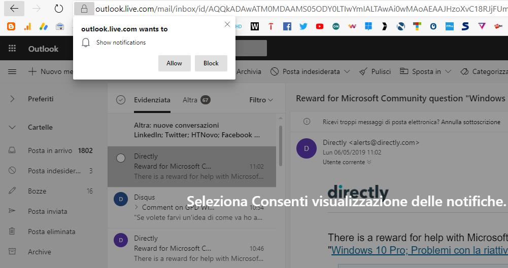 Outlook-invio-notifiche