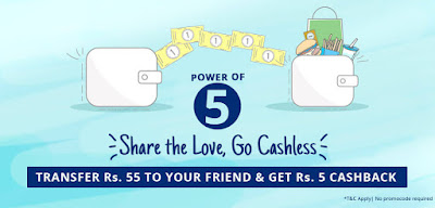 Paytm:- Transfer Rs.55 to Your Friend And Get Rs.5 Cashback