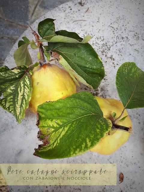 pere-cotogne-sciroppate-zabaione-crumble-nocciole