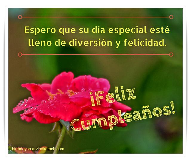 Espero, especial, diversión, felicidad, Rosa, Tarjeta, cumpleaños,