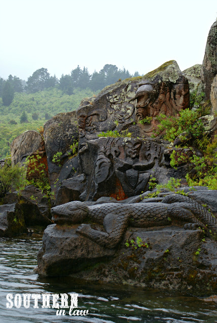 Maori Rock Carvings on Mine Bay Lake Taupo - Ernest Kemp Cruise Review