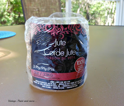 Vintage, Paint and more...  Corde Jute used to wrap twine wrapped table
